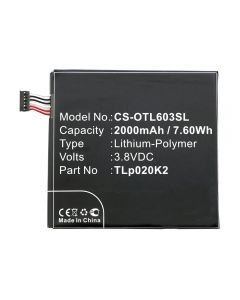 Replacement Battery TLp020K2 2000 mAh 7.60 Wh Compatible With Alcatel OneTouch Idol 3 4.7