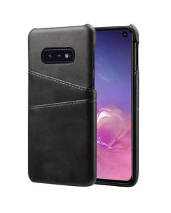 Premium PU Leather Card Slot Protective Back Cover Case Compatible With Samsung Galaxy S10E - Black