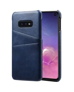 Premium PU Leather Card Slot Protective Back Cover Case Compatible With Samsung Galaxy S10E - Blue