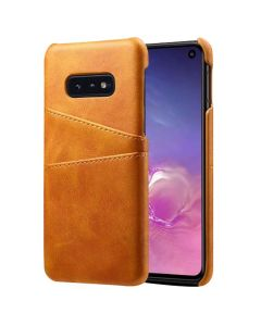 Premium PU Leather Card Slot Protective Back Cover Case Compatible With Samsung Galaxy S10E - Khaki