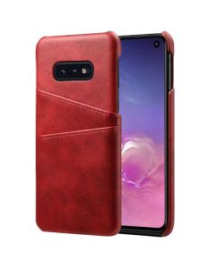 Premium PU Leather Card Slot Protective Back Cover Case Compatible With Samsung Galaxy S10E - Red