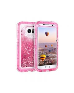 Anti Drop Shockproof 3D Bling Glitter Sparkle Liquid Clear Dual Layer Quicksand Back Shell Case For Galaxy S7 - Pink