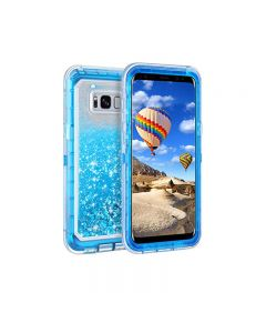Anti Drop Shockproof 3D Bling Glitter Sparkle Liquid Clear Dual Layer Quicksand Back Shell Case For Galaxy S8+ Plus - Blue