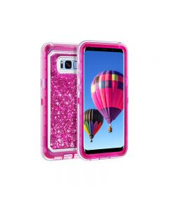 Anti Drop Shockproof 3D Bling Glitter Sparkle Liquid Clear Dual Layer Quicksand Back Shell Case For Galaxy S8+ Plus - Hot Pink