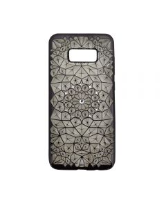 Samsung S8+ Plus Luxury 3D Rhinestone Bling Case Soft Silicone Thin Cover Diamond Flower Phone Case - Black