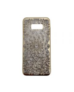 Samsung S8+ Plus Luxury 3D Rhinestone Bling Case Soft Silicone Thin Cover Diamond Flower Phone Case - Gold