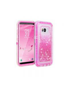Anti Drop Shockproof 3D Bling Glitter Sparkle Liquid Clear Dual Layer Quicksand Back Shell Case For Galaxy S8+ Plus - Pink