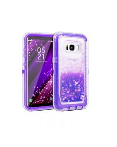 Anti Drop Shockproof 3D Bling Glitter Sparkle Liquid Clear Dual Layer Quicksand Back Shell Case For Galaxy S8+ Plus - Purple