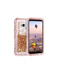 Anti Drop Shockproof 3D Bling Glitter Sparkle Liquid Clear Dual Layer Quicksand Back Shell Case For Galaxy S8+ Plus - Rose Gold