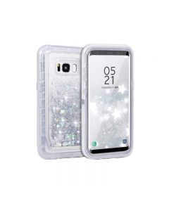 Anti Drop Shockproof 3D Bling Glitter Sparkle Liquid Clear Dual Layer Quicksand Back Shell Case For Galaxy S8+ Plus - Silver