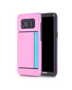 Samsung Galaxy S8 Dual Layer Bumper Protective Hard Shell Wallet Sliding Card Holder Case - Pink