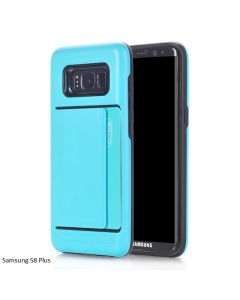 Samsung Galaxy S8 Plus Dual Layer Bumper Protective Hard Shell Wallet Sliding Card Holder Case - Teal