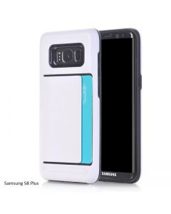 Samsung Galaxy S8 Plus Dual Layer Bumper Protective Hard Shell Wallet Sliding Card Holder Case - White