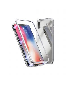 360º Magnetic Metal Frame Tempered Glass Back Magnet Phone Cover Case For Apple iPhone XS Max - Silver