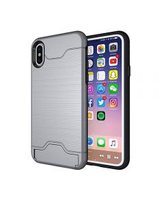 Brushed TPU 2 Layer Protection Hidden Card Storage Kickstand Back Cover Phone Case For iPhone X / iPhone XS - Silver