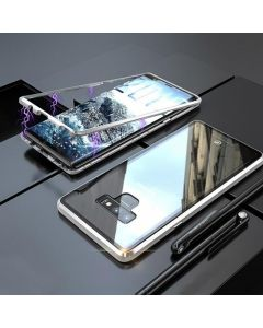Samsung Galaxy Note 9 Magnetic Absorption Metal Frame Transparent Glass Case - Silver