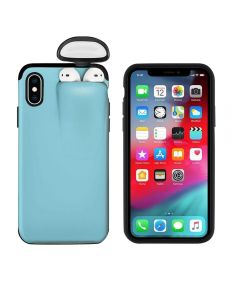 Unified Protection Silicone Gel Rubber 2 in 1 AirPods Phone Cover Case For Apple iPhone X/XS (AirPods 1/2 Only)-Sky Blue