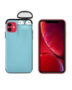 Unified Protection Silicone Gel Rubber 2 in 1 AirPods Protective Phone Cover Case For Apple iPhone 11 - Sky Blue
