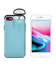 Unified Protection Silicone Gel Rubber 2 in 1 AirPods Protective Phone Cover Case For Apple iPhone 7 / iPhone 8 - Sky Blue