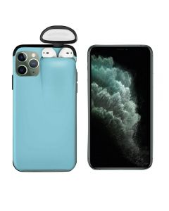 Unified Protection Silicone Gel Rubber 2 in 1 AirPods Protective Phone Cover Case For Apple iPhone 11 Pro - Sky Blue