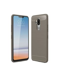 LG G7 Drawing Carbon Fiber TPU Back Cover Case - Grey