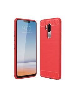 LG G7 Drawing Carbon Fiber TPU Back Cover Case - Red