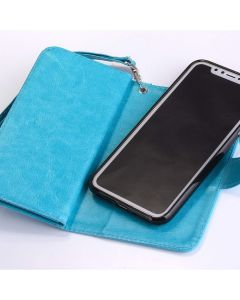 iPhone XR PU Leather Wallet Flip Case Real Purse Phone Bag with Card Slot - Blue