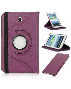 "360 Rotating Leather Hard Case Cover For Samsung Galaxy Tab 3 7.0"" T210 p3200 Tablet - Purple"