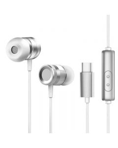 USB Type C Digital Signal Headphones Wired Sport Earphones With Microphone Music Running Headset - Silver