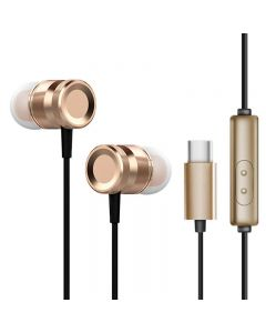 USB Type C Headphones Wired Sport Earphones With Microphone Music Running Headset - Tyrant Gold