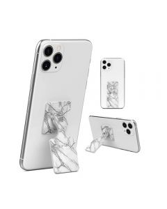 Kickback Universal 360 Rotatable Cellphone Kickstand & Grip Compatible With iPhone Samsung Android SmartPhones - White Marble