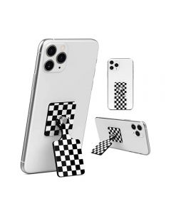 Kickback Universal 360 Rotatable Cellphone Kickstand & Grip Compatible With iPhone Samsung Android SmartPhones - Checker Black