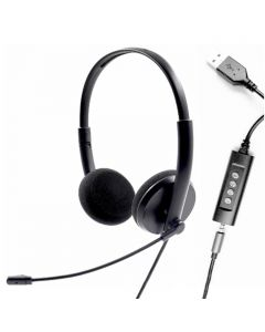 H-U15A Hybrid USB & 3.5mm Connector Noise Cancelling Lightweight Wired Headset With Microphone For Computer/PC /Laptop/Mac/Tablet/Surface