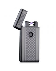 USB Rechargeable Dual Arc Plasma Lighter Electric Flameless & Windproof - Black Checkered