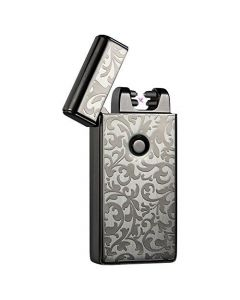 USB Rechargeable Dual Arc Plasma Lighter Electric Flameless & Windproof - Black Leaves
