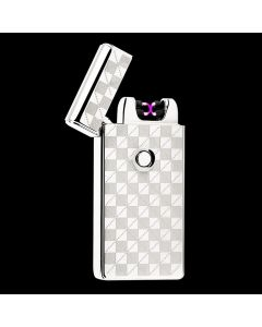 USB Rechargeable Dual Arc Plasma Lighter Electric Flameless & Windproof - Silver Checkered