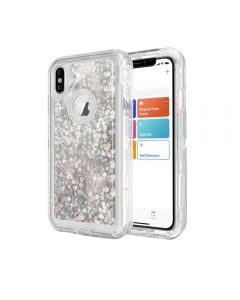 Dynamic Glitter Liquid Armor Case Defender Quicksand Hybrid Cover Phone Case For Apple iPhone XS Max - White