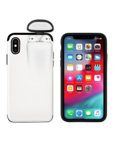 Unified Protection Silicone Gel Rubber 2 in 1 AirPods Phone Cover Case For Apple iPhone X / XS (AirPods 1/2 Only)- White