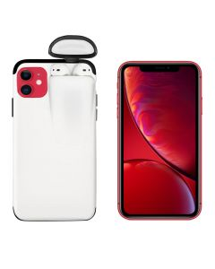 Unified Protection Silicone Gel Rubber 2 in 1 AirPods Protective Phone Cover Case For Apple iPhone 11 - White