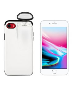 Unified Protection Silicone Gel Rubber 2 in 1 AirPods Protective Phone Cover Case For Apple iPhone 7 / iPhone 8 - White
