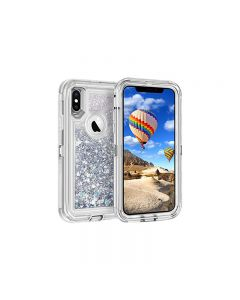 Anti Drop Shockproof 3D Bling Glitter Sparkle Liquid Clear Dual Layer Quicksand Back Shell Case For iPhone X/XS - Silver