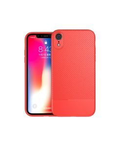 Luxury Shockproof Carbon Fiber Slim Rubber Phone Case Cover For Apple iPhone XR - Red