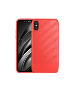 Luxury Shockproof Carbon Fiber Slim Rubber Phone Case Cover For Apple iPhone X / iPhone XS - Red