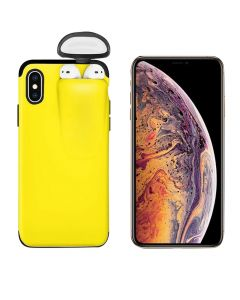Unified Protection Silicone Gel Rubber 2 in 1 AirPods Phone Cover Case For Apple iPhone XS Max (AirPods 1/2 Only)–Yellow