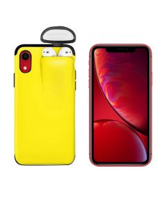 Unified Protection Silicone Gel Rubber 2 in 1 AirPods Phone Cover Case For Apple iPhone XR (AirPods 1/2 Only) – Yellow
