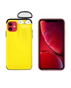 Unified Protection Silicone Gel Rubber 2 in 1 AirPods Protective Phone Cover Case For Apple iPhone 11 - Yellow