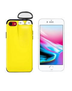 Unified Protection Silicone Gel Rubber 2 in 1 AirPods Protective Phone Cover Case For Apple iPhone 7 / iPhone 8 - Yellow