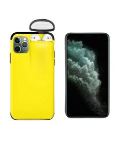 Unified Protection Silicone Gel Rubber 2 in 1 AirPods Protective Phone Cover Case For Apple iPhone 11 Pro - Yellow