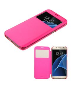 Samsung Galaxy S7 Edge PU Leather Flip cover Case - Hot Pink